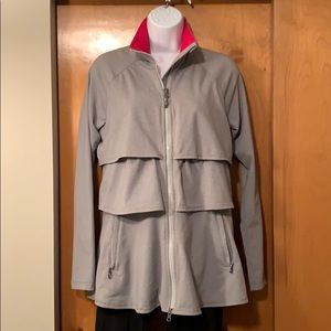 Athleta gray tiered ruffle soft stretchy jacket